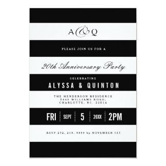 はっきりしたな黒のストライプ記念日のパーティの招待状 カード