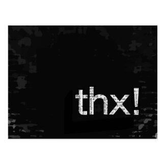 """はっきりしたな""""THX!"""" 新聞プリントのタイポグラフィの郵便はがき ポストカード"""