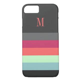 はっきりしたモノグラムと縞で飾ります iPhone 8/7ケース