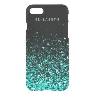 はっきりスタイリッシュな水のティール(緑がかった色)の青緑のグリッターの黒 iPhone 8/7 ケース