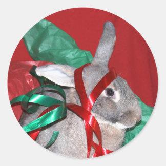 ばかばかしいクリスマスのバニー ラウンドシール