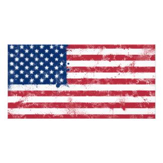 (ばちゃばちゃ)跳ねるの色彩の鮮やかな米国旗 カード