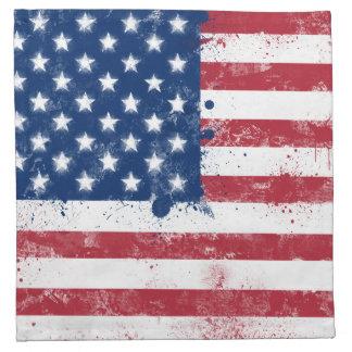 (ばちゃばちゃ)跳ねるの色彩の鮮やかな米国旗 ナプキンクロス