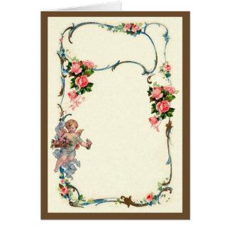 ばら色かわいらしいヴィンテージ及び天使のボーダー装飾 カード