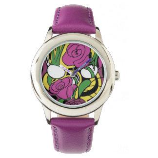 ばら色のスカルの腕時計 腕時計