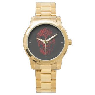 ばら色のスカルの金時計 腕時計