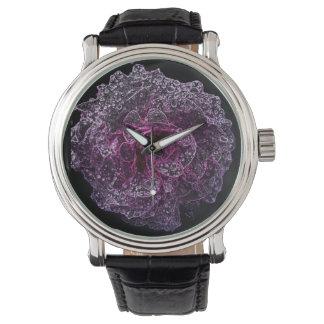 ばら色のヴィンテージ革バンドの腕時計、黒い革 腕時計