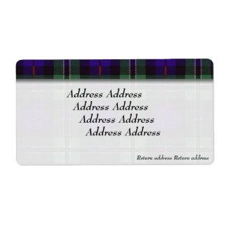 ばら色の一族の格子縞のスコットランド人のタータンチェック ラベル