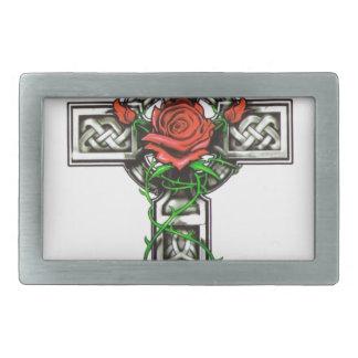 ばら色の十字の入れ墨のデザイン 長方形ベルトバックル