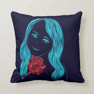 ばら色の女の子の枕 クッション