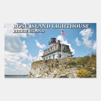 ばら色の島の灯台、ロードアイランド 長方形シール
