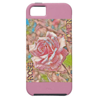 """""""ばら色の恋人""""のデジタルピンクの花の絵画 iPhone SE/5/5s ケース"""