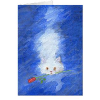ばら色の挨拶状を持つ猫 カード
