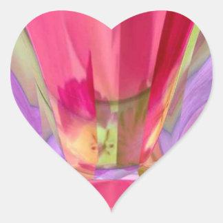 ばら色の水晶ネオンライトクラブ ハートシール