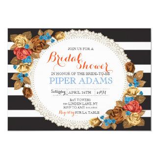 ばら色の花のストライプのなブライダルシャワーの招待状 カード