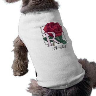 ばら色の花のモノグラムのためのR ペット服
