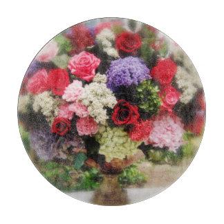 ばら色の花の自然の花束の花柄 カッティングボード
