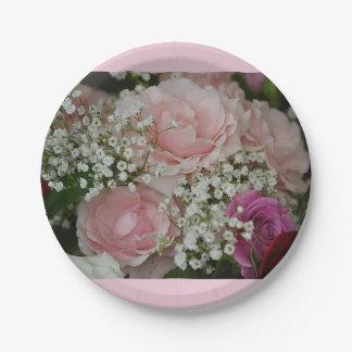 ばら色の花束の紙皿 ペーパープレート スモール