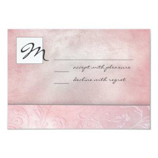 ばら色の花柄RSVP カード