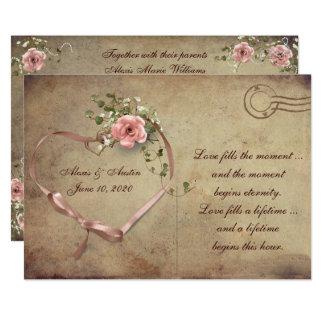 ばら色の郵便はがきを結婚するヴィンテージ カード