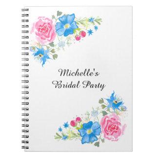 ばら色の野生の花の組合せのピンクの青 ノートブック