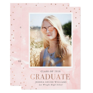 ばら色の金ゴールドおよび水彩画の卒業の招待状 カード