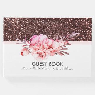 ばら色の金ゴールドのグリッターのピンクの花花束の結婚式 ゲストブック