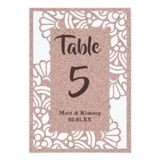 ばら色の金ゴールドのグリッターのモダンな結婚式のテーブル数カード カード