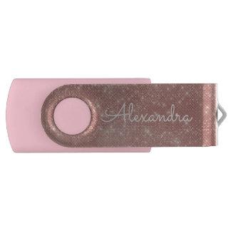 ばら色の金ゴールドのグリッターの輝きのモノグラムUSBの親指ドライブ USBフラッシュドライブ
