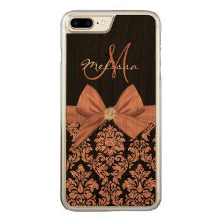 ばら色の金ゴールドのグリッターの黒のダマスク織、弓、ダイヤモンド CARVED iPhone 8 PLUS/7 PLUS ケース