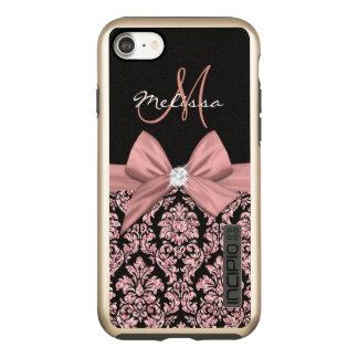 ばら色の金ゴールドのグリッターの黒のダマスク織、弓、ダイヤモンド INCIPIO DualPro SHINE iPhone 8/7ケース