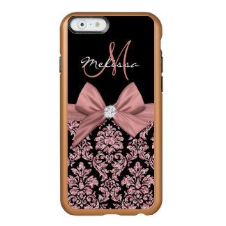 ばら色の金ゴールドのグリッターの黒のダマスク織、弓、ダイヤモンド INCIPIO FEATHER SHINE iPhone 6ケース