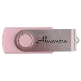 ばら色の金ゴールドのピンクの金属のモノグラムUSBの親指ドライブ USBフラッシュドライブ