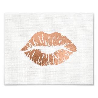 ばら色の金ゴールドのホイル効果の甘美な唇の結婚 フォトプリント