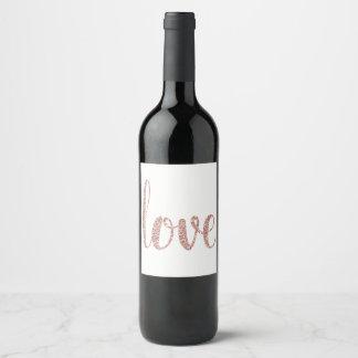 ばら色の金ゴールドのワインのラベル、愛、グリッター ワインラベル