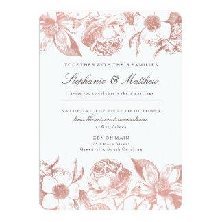 ばら色の金ゴールドのヴィンテージの花柄の結婚式招待状 カード