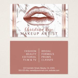 ばら色の金ゴールドの唇の大理石のメーキャップアーティストの美容師 名刺
