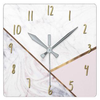 ばら色の金ゴールドの大理石の渦巻及び赤面のピンクの青銅色の魅力 スクエア壁時計