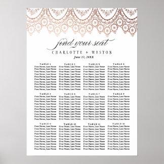 ばら色の金ゴールドの敏感な結婚式の座席の図表 ポスター