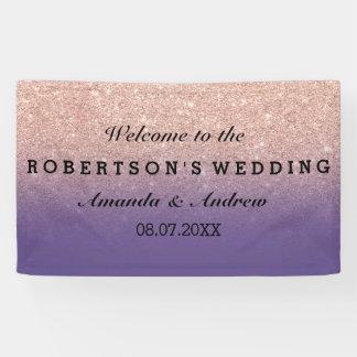 ばら色の金ゴールドの模造のなグリッターの紫色のグラデーションな結婚式 横断幕