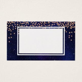 ばら色の金ゴールドの濃紺の輝きのグリッターの名刺 名刺