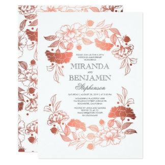 ばら色の金ゴールドの花のエレガントな結婚記念日 カード