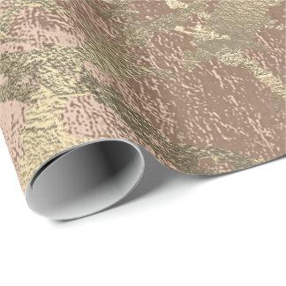 ばら色の金ゴールドベージュ大理石の光沢がある金属汚いVIP ラッピングペーパー