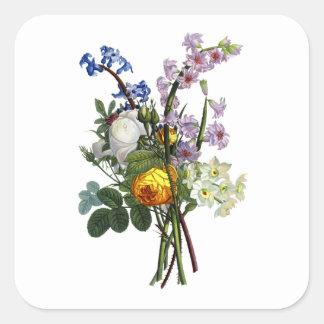 ばら色ジーンルイPrevostおよびスイセンの花束 スクエアシール
