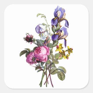 ばら色ジーンルイPrevostのキャベツおよびアイリス花束 スクエアシール