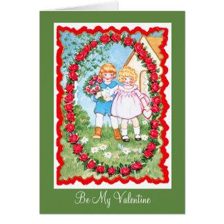 ばら色フレームValenitneの子供 カード
