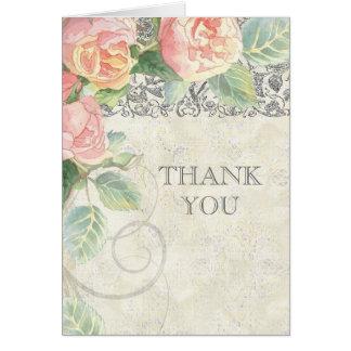 ばら色及び銀製英語はノート感謝していしています カード