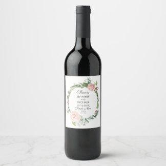 ばら色花柄および緑の草木は結婚式のワインのラベルを包みます ワインラベル