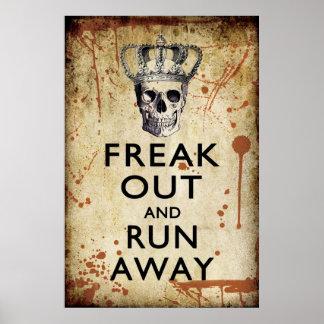 ひどく神経質にし、ハロウィン遠くになポスターを走って下さい ポスター
