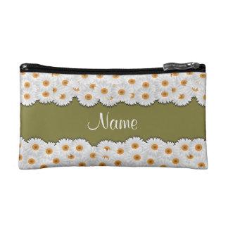 ひな菊の花輪の名前入りなクラッチ コスメティックバッグ